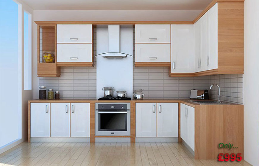 Cream slab fitted kitchen for Cheap kitchen carcass
